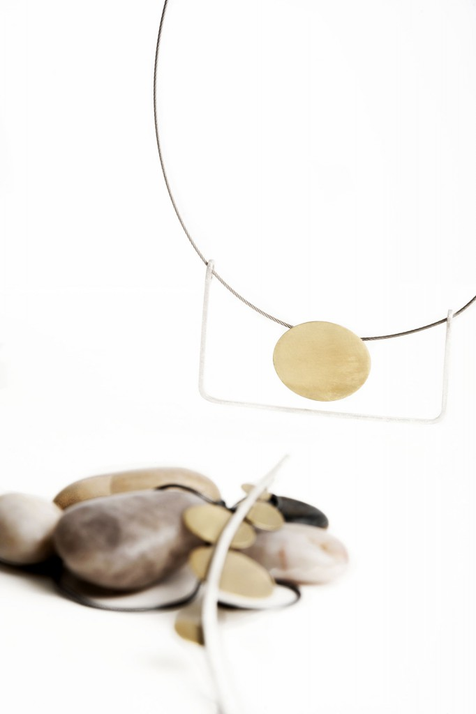 Aines handmade Jewellery - Gong Collection - Gold and silver pendant.