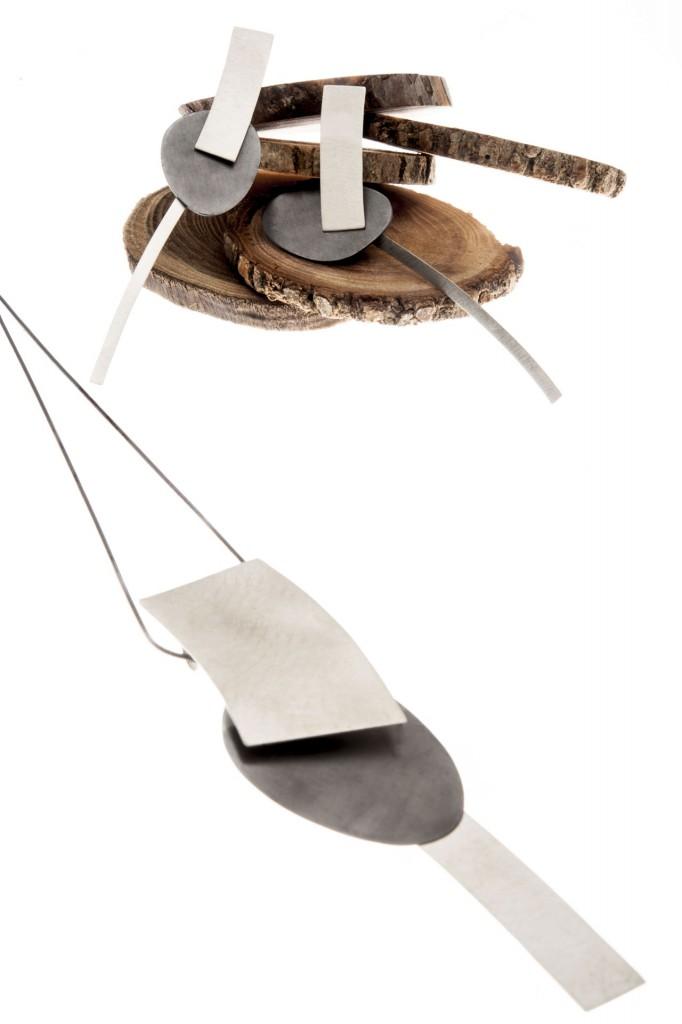 Aines joyas de diseño - Colección Munich - pendientes y colgante de plata.
